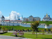 The view from the embankment at the Kazan Kremlin with churches and Kol Sharif Mosque. In the republic Tatarstan in Russia..The shot was made in August, 2015 Stock Image