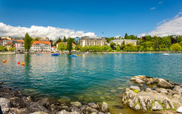 View of embankment in Lausanne Royalty Free Stock Image