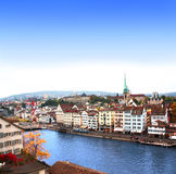 View of the embankment and Limmat river in Zurich Stock Images
