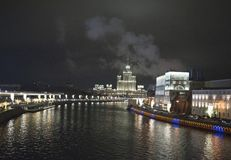 View of the embankment of Moscow River. Moscow at night. Russia Royalty Free Stock Images