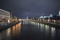 View of the embankment of Moscow River. Moscow at night. Russia Royalty Free Stock Photo