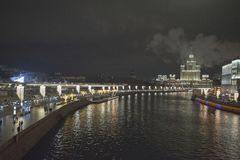 View of the embankment of Moscow River. Moscow at night. Russia Stock Photography
