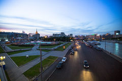 View of Embankment of the Moskva River at night Stock Image