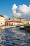 View of the embankment of Moyka river in Saint-Petersburg Stock Photos