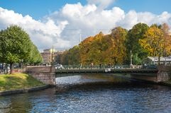 View of the embankment of Moyka river in Saint-Petersburg Stock Images