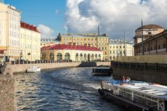 View of the embankment of Moyka river in Saint-Petersburg Royalty Free Stock Photo