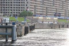 View of embankment of Neva River. Stock Photo