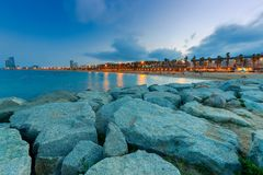 Barcelona. Olympic port at dawn. Royalty Free Stock Photo