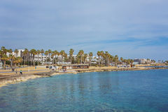 View of embankment at Paphos Harbour, Cyprus Royalty Free Stock Photography