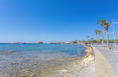 View of embankment at Paphos Harbour, Cyprus Stock Image