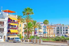 View of the embankment and the promenade in small resort town-Si. Sitges, Spain - June 14, 2017 : View of the embankment and the promenade in small resort town Stock Photos