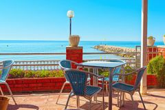 View of the embankment and the promenade in small resort town-Si. Tges in the suburbs of Barcelona.Spain Stock Image