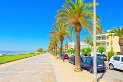 View of the embankment and the promenade in small resort town-Si. Tges in the suburbs of Barcelona. Spain Royalty Free Stock Images