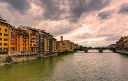 View of the embankment of the River Arno in Florence Royalty Free Stock Photos