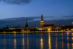 View of the embankment of the river Daugava and the old town in Stock Image