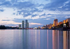 View of the embankment of the river Ishim in the evening. Astana. Kazakhstan Stock Images