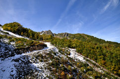 View of the embankment of the river Mtsesta, Krasnaya Polyana, S Royalty Free Stock Images
