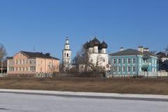 View of the embankment rivers Vologda and Church of St  Nicholas in Vladychnaya Sloboda  Vologda Stock Photo
