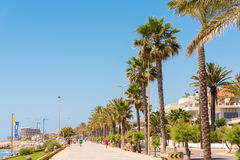 View of the embankment in Sitges, Barcelona, Catalunya, Spain. Copy space for text. Royalty Free Stock Photos