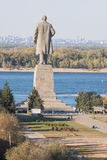 View of the embankment, and a statue of Lenin in the Krasnoarmeysk district of Volgograd Royalty Free Stock Photography