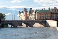 View of the embankment of Stockholm, Sweden Royalty Free Stock Photo