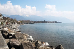 View of the embankment of Vevey on Lake Geneva. Stock Image