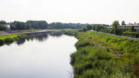 View on embankment of Warta river in polish town Konin. Stock Photography