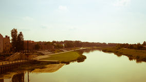 View on embankment of Warta river in polish town Konin. Royalty Free Stock Photos