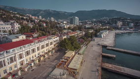 View Of The Embankment Of Yalta From Seaside stock video footage