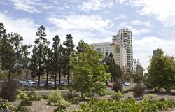View of Embassy Suites Hotel from Ruocco Park in San Diego Royalty Free Stock Photography