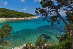 View of Emblisi Fiskardo Beach, Kefalonia, Ionian islands, Greece Royalty Free Stock Image