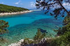 View of Emblisi Fiskardo Beach, Kefalonia, Ionian islands, Greece Stock Images