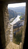 View from embrasure. Chateau Boullion, Belgium royalty free stock photography