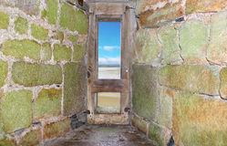 View from embrasure of the fortress of Mont Saint Michel. Normandy. France stock image