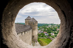 View from the embrasure of a tower. At Kamyanets-Podilsky fortress, Ukraine stock photos