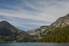 Entering Emerald Bay in Lake Tahoe. A view of Emerald Bay in Lake Tahoe, California, from the lake stock images