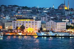 View from Eminonu / Golden Horn at night. Stock Photo