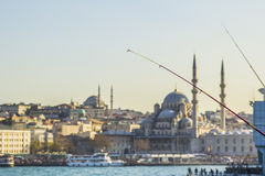 View of the Eminonu and Mosque from Galata Bridge Royalty Free Stock Images