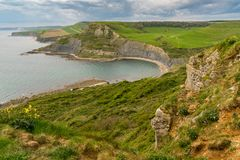 Emmett`s Hill, South West Coast Path, Jurassic Coast, Dorset, UK. View from Emmett`s Hill towards Chapman`s Pool, South West Coast Path, Jurassic Coast, Dorset Stock Photography