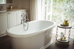 View of empty bathtub in bathroom. At home Stock Images