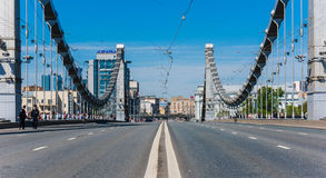 View of the empty Crimean bridge Royalty Free Stock Photo