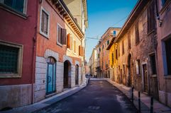 View of the empty downtown streets of Verona royalty free stock image