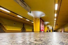View of the empty Messberg underground station  in Hamburg Stock Image
