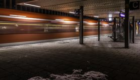 Metro station on the night. View on the empty metro station in Munich at the night royalty free stock images