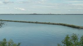 View of the empty old harbor  stock footage