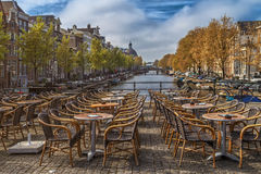 View of empty outdoor cafe. Royalty Free Stock Photos