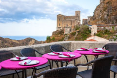 View of empty outdoor cafe in Sicily, Italy Royalty Free Stock Photography