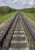 View of empty railroad track. Perspective view. Vertical composition of railway Stock Photos