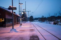 Ruhpolding train station with snow Stock Photography