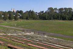 View of the empty stadium in the town of Totma, Vologda Region Stock Photo